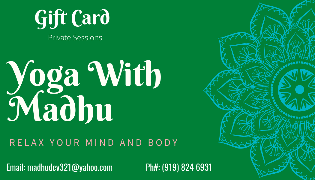 Yoga With Madhu Private Session Gift Card